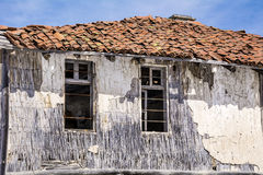 Destroyed straw  house in the winter.close up Royalty Free Stock Photography