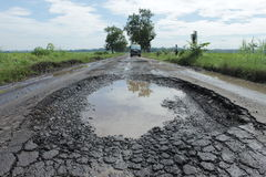 Destroyed street. Street was destroyed on Simo, Boyolali, Central of Java, makes a dangerous traffic Stock Photo