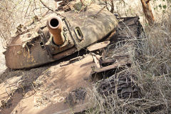 Destroyed tank in South Sudan Royalty Free Stock Photo