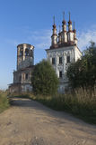 Destroyed the temple of Resurrection of Christ in village Varnitsy, Totemsky district, Vologda region Stock Image