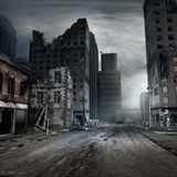 Destroyed tenement house. Post apocalyptic scene with city street