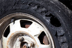 Destroyed tire royalty free stock photos