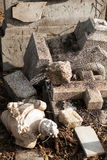 Destroyed tombstone royalty free stock photography