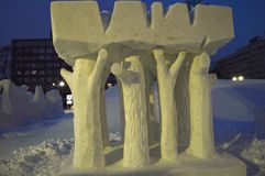 Destroyed tree in Japanese snow festival Hokkaido Stock Photos