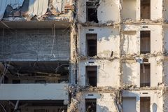 Demolition of a building. destruction in a residential urban quarter stock images