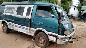 Destroyed Van After Accident Royalty Free Stock Images