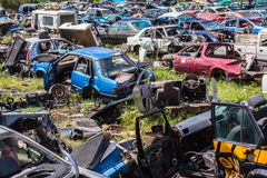 Destroyed Vehicles Yard Scrap Royalty Free Stock Images