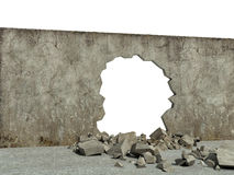 Destroyed wall of concrete structure Stock Photo