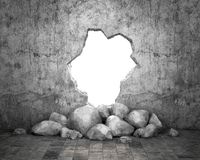 Destroyed wall of concrete structure. Concept of escape to freedom. 3d, illustration stock illustration