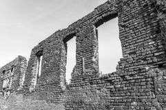 Destroyed wall of King`s Camp in Castle in Malbork, Poland. royalty free stock photography
