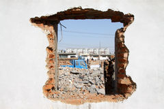 Destroyed walls. Closeup of destroyed walls in a town in china Royalty Free Stock Photography
