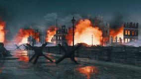 Destroyed after war burning city ruins at night 4K