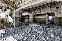 Destroyed warehouse royalty free stock photo