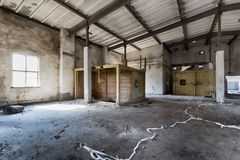 Destroyed warehouse royalty free stock images