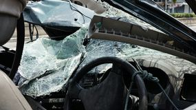 Destroyed Windshield Front Part Car stock images