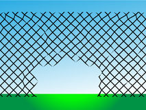 Destroyed wire barrier ready escape Stock Photo