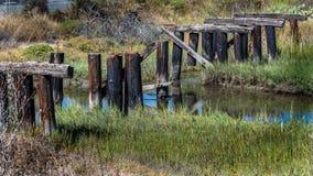 Destroyed  wooden bridge. Old destroyed abundant wooden bridge and creek Stock Images