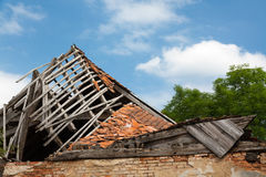 Destroyed wooden roof Royalty Free Stock Photos