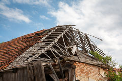 Destroyed wooden roof Royalty Free Stock Photography