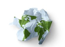 Destroyed World. A crumpled up globe symbolizing the world and the environment being destroyed by the depletion of forestry resources stock illustration