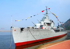 Destroyer. In Dalian, China. Front view Royalty Free Stock Photos