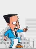 Destroyer. Vector illustration Giant businessman destroying the city Stock Photos