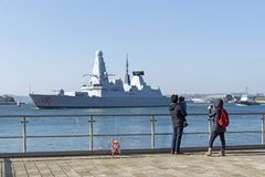 Destroyer leaving Devonport naval base UK Royalty Free Stock Photos