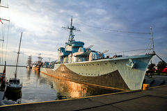 Destroyer ship -Lightning- BLYSKAWICA. II WORLD WAR Ship in Gdynia, early morning. The only ship of the Polish Navy awarded with the Virtuti Militari medal & Stock Photography