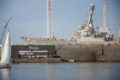 Destroyer in Naval Station Norfolk, Virginia Stock Photo