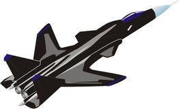 Destroyer s-34. Drawing of the black speed fighter in flight Royalty Free Stock Photos
