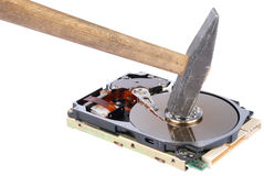 Destroying data from hard disk - conceptual photo. On white background Stock Photo