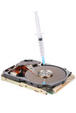Destroying data from hard disk - conceptual photo Stock Photo