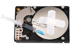 Destroying data from hard disk - conceptual photo. Royalty Free Stock Image