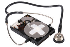 Destroying data from hard disk - conceptual photo. Royalty Free Stock Photos
