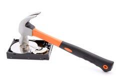 Destroying hard disk. Hammer destroying hard disk studio isolated Stock Image