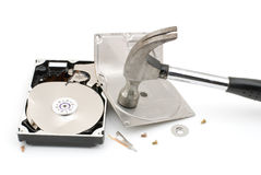 Destroying hard disk drive Royalty Free Stock Image