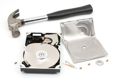 Destroying hard disk drive Royalty Free Stock Photo