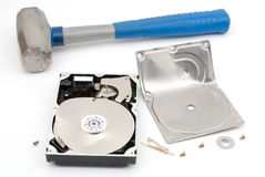 Destroying hard disk drive Stock Image