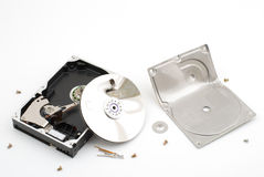 Destroying hard disk drive Royalty Free Stock Images