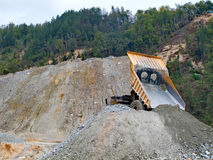 Destroying the nature by the product of the copper mine flotation Stock Photo