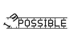Destroying the word impossible to possible. Stock Image