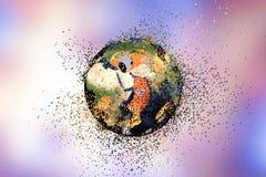 Destrucción de la tierra Concepto global de los problemas stock de ilustración