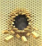 Destrucción de una pared de oro stock de ilustración