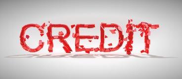 Destrucción de la palabra del crédito con la sombra Fotografía de archivo