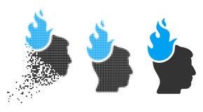 Destructed Dot Halftone Fired Head Icon vector illustratie