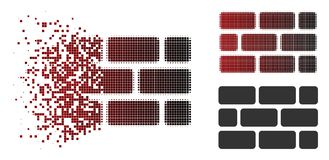 Destructed Dotted Halftone Brick Wall Icon. Brick wall icon in dissolved, pixelated halftone and undamaged whole versions. Fragments are arranged into vector vector illustration