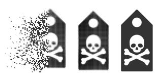 Destructed Dotted Halftone Death Mark Icon. Death mark icon in disappearing, pixelated halftone and undamaged whole versions. Particles are grouped into vector royalty free illustration