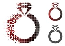 Destructed Pixel Halftone Jewelry Ring Icon vector illustration