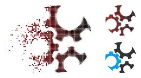 Destructed Pixel Halftone Mechanics Gears Icon. Vector mechanics gears icon in fractured, dotted halftone and undamaged whole versions. Disintegration effect vector illustration