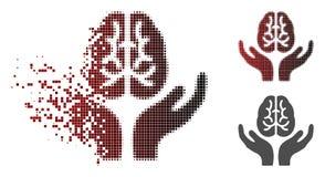 Destructed stippelde Halftone Brain Care Hands Icon royalty-vrije illustratie